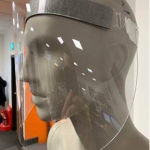 Face shield on mannequin